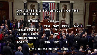 H1 house votes trump impeached abuse power obstruction congress