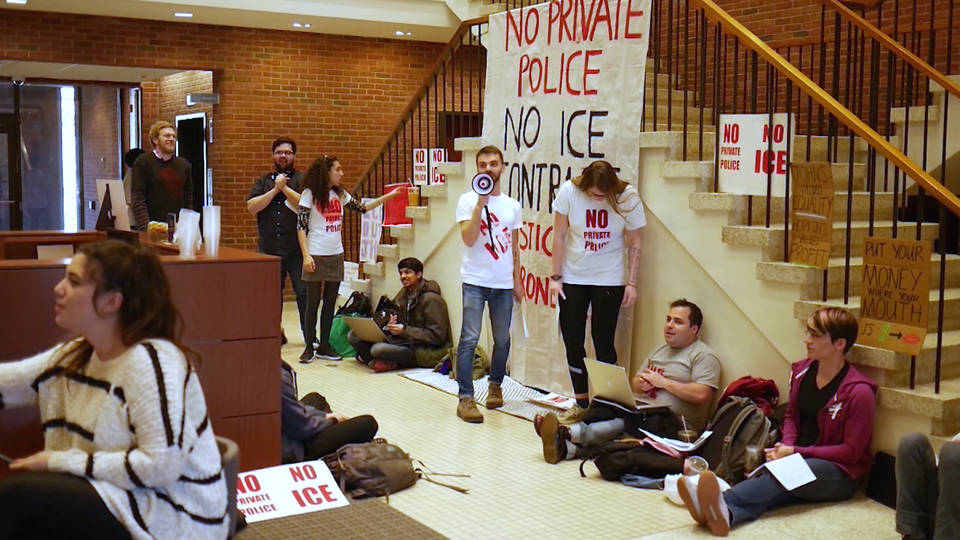 H13 police raid john hopkins university student sit in protest baltimore