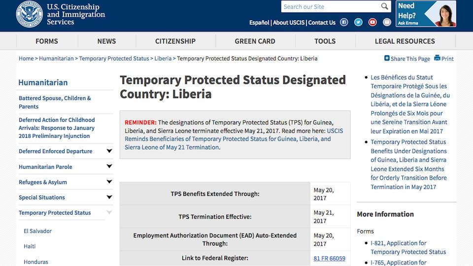 H12 liberian tps status threatened
