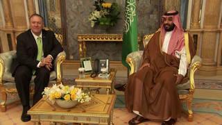 H1 secretary mike pompeo visits mbs saudi arabia blames iran act of war