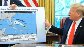 H4 trump hurricane dorian map alabama sharpie marker path projection