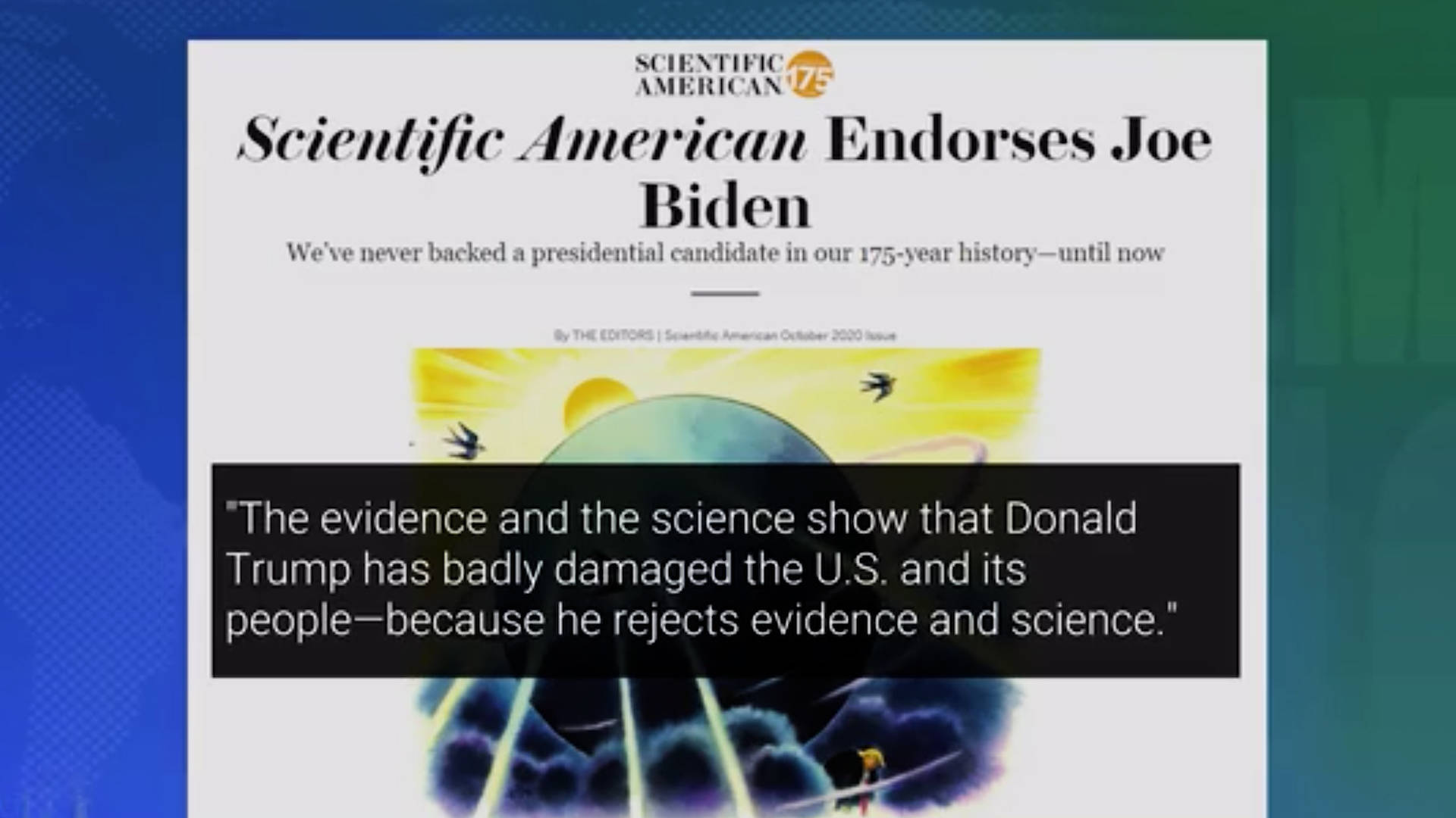 h15 scientific american endorses joe biden saying trump rejects science.'