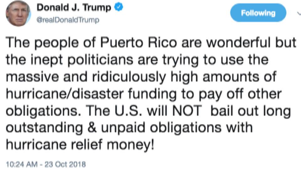 Hasil gambar untuk Trump Falsely Claims Puerto Rico Wants to Use Aid to Pay Its Debt