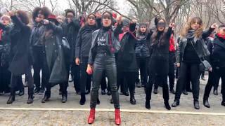 H13 women protest accused rapists harvey weinstein trump new york city manhattan courthouse