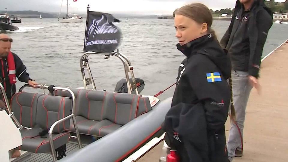H14 greta thunberg climate activist yacht new york city arrival un climate talks