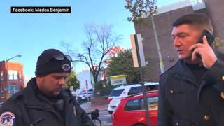 H18 police threaten medea benjamin arrest dc venezuela protest wasserman schultz