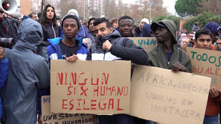 H15 madrid protest migrant shelter refugee solidarity xenophobic attacks