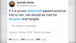 H9 twitter account suspended ilhan omar challenger danielle stella republican spying treason deleted tweet