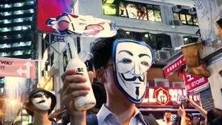 H14 hong kong protestors use halloween to defy mask ban police tear gas anti authoritarian
