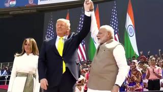 H4 trump touts defense deal praises modi massive indian rally