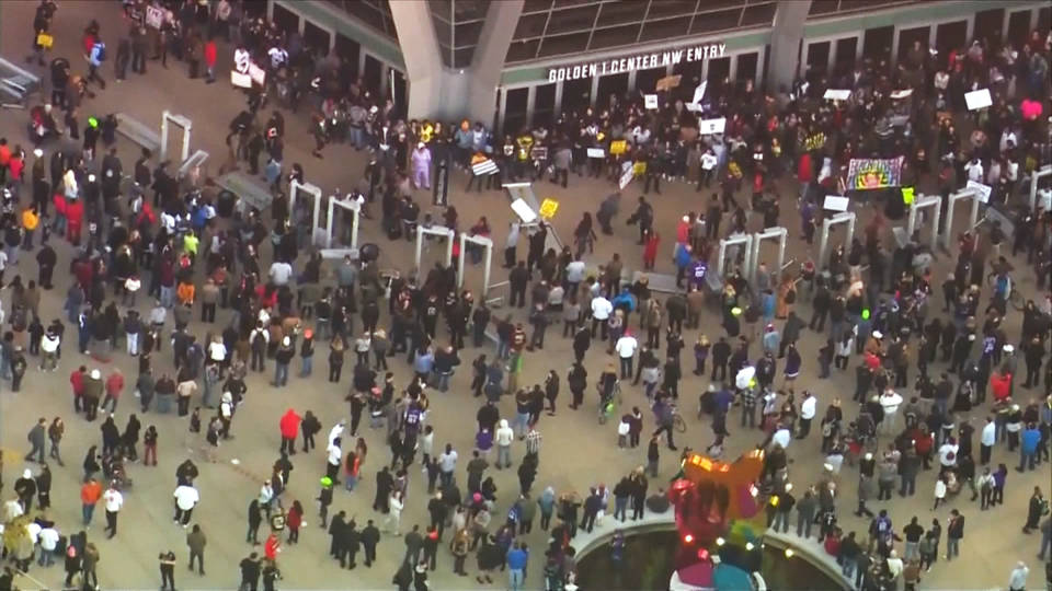 Protesters block National Basketball Association arena over fatal Sacramento police shooting