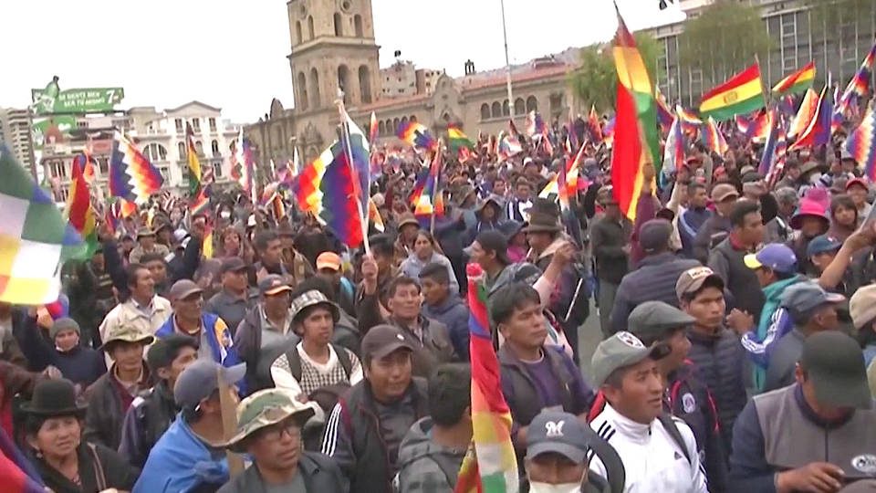 H8 indigenous bolivians protest interim president anez evo morales coup