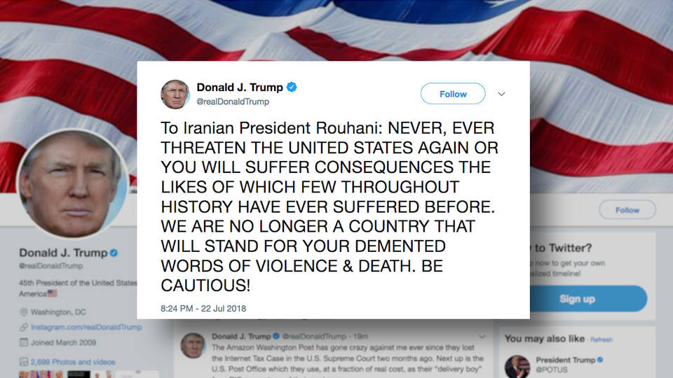 Trump sends stark warning to Iranian President Rouhani