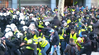 H6 protesters france police clash
