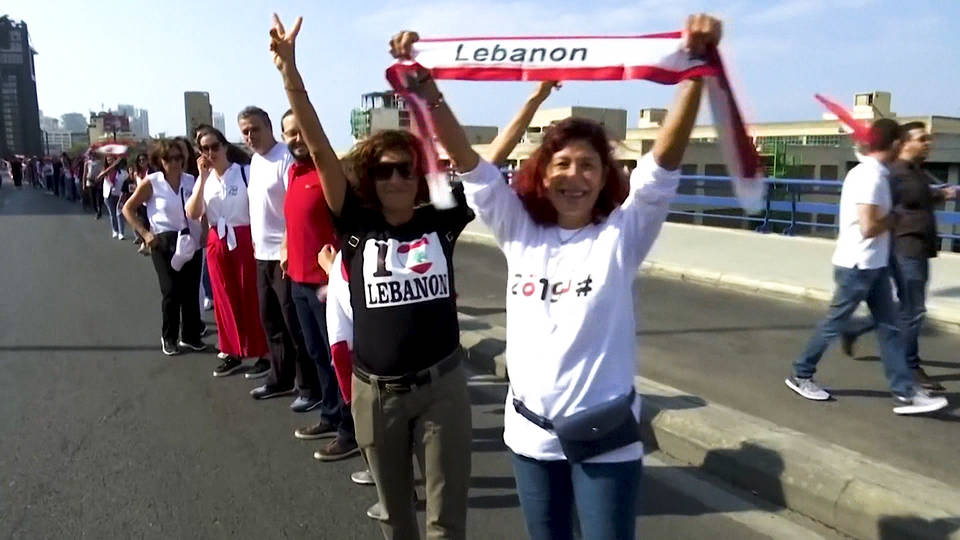 H5 lebanon mass protest human chain anti government corruption unemployment