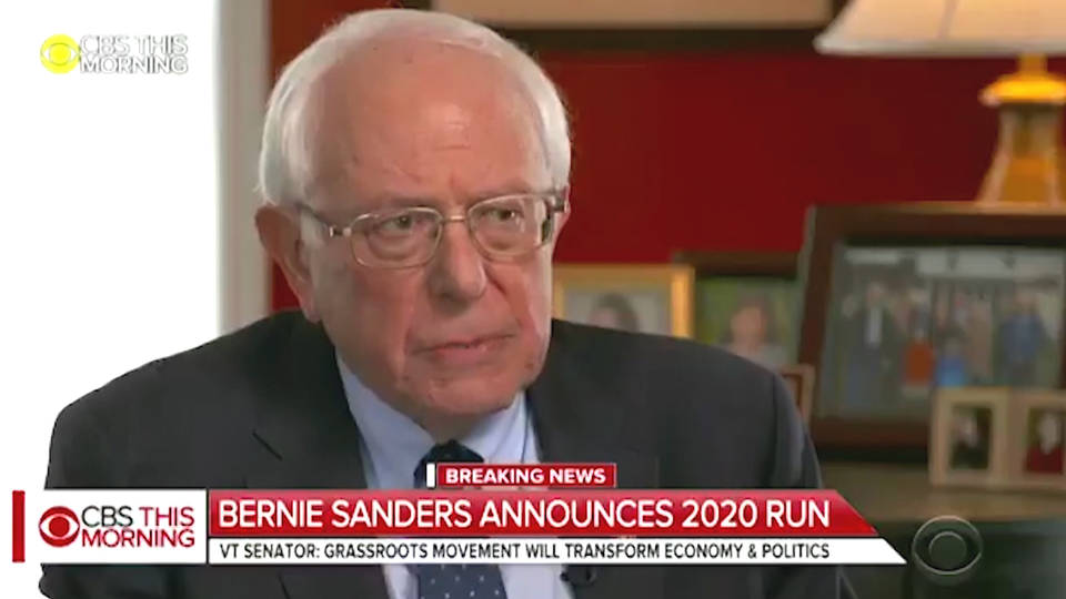 Bernie Sanders says he's running for US president in 2020