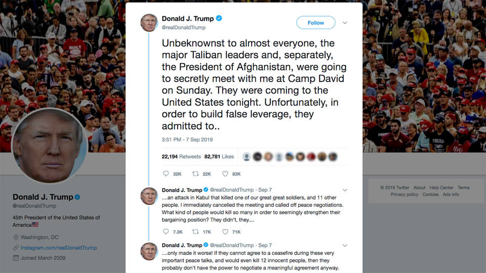 Image result for trump tweets camp david afghanistan