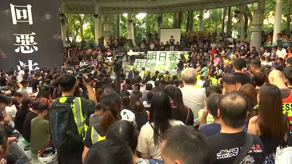 H3 hong kong protesters hold general strike tear gas