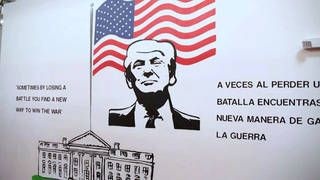 H5 trump mural at migrant child detention center