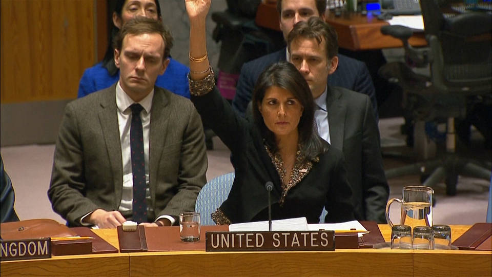 U.S.  vetoes UNSC resolution on Jerusalem