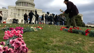 H5 flowers capitol yemen protest
