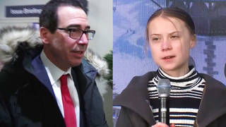 H13 us treasury secretary draws fire mocking climate activist greta thunberg steve mnuchin