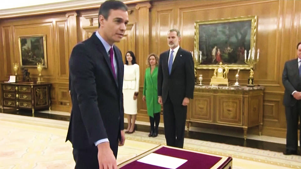 H8 spanish socialist party leader pedro sanchez sworn in as prime minister podemos pablo iglesias coalition government left wing