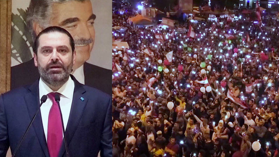 H3 lebanon prime minister resigns massive protests saad hariri anti government