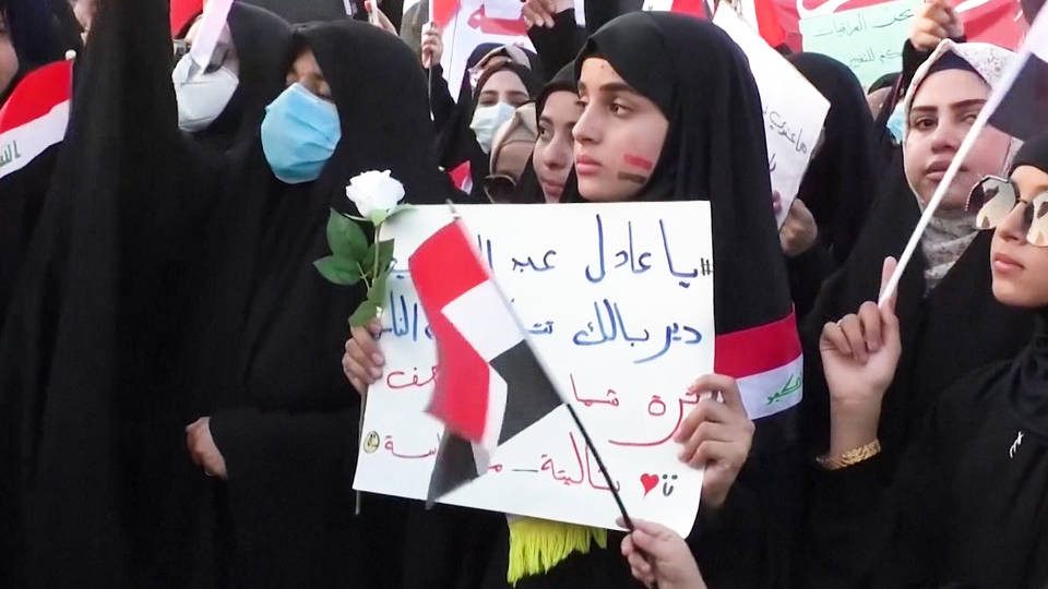 H4 iraq tens thousands baghdad tahrir square protests continue prime minister adel abdul mahdi