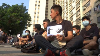H7 hong kong sit in protest student shot police