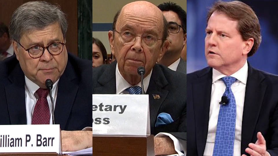 H14 house oversight committee contempt votes barr ross mcgahn census subpoenas mueller inquiry