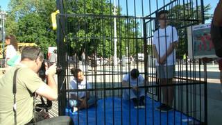 H16 family separation protest cages immigration migrants detention un