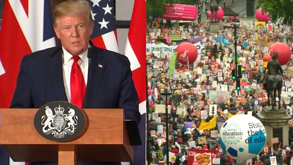 H4 trump uk trade protests nhs may britain london fake news