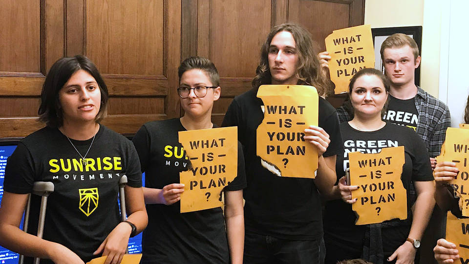 H4 climate activists pelosis office house speaker sit in dianne feinstein climate change