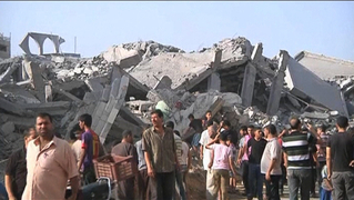 bombed area of Gaza