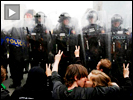 Riot police peace