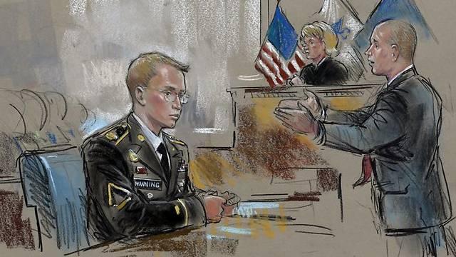 Bradley manning court sketch
