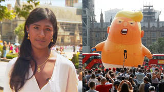 Ash sarkar trump blimp london protests