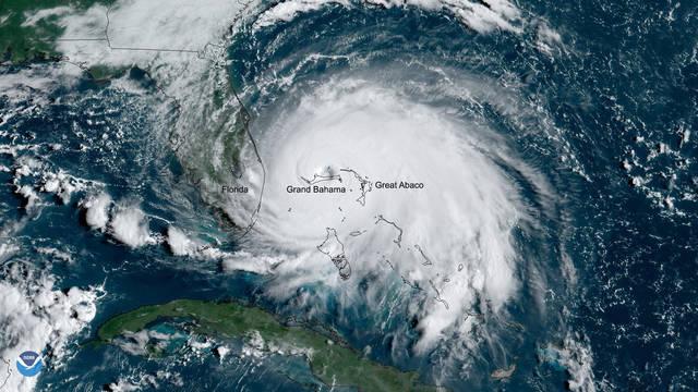 S2 hurricane dorian noaa satellite over bahamas